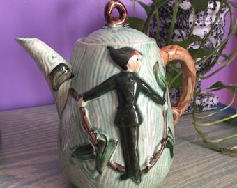 Vintage L. Batlin & Son Inc. Jack and the Beanstalk Ceramic Teapot - 1950s