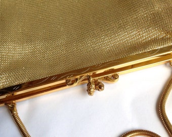 Gold Evening Bag 1950's Evening Bag Vintage Evening Bag Vintage Gold Bag Vintage Handbag Gold Thread Bag Foreign Evening Bag Foreign Bag