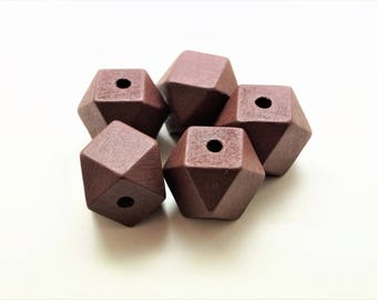 Set of 10 Wooden Beads, painted in brown coffee, polygon 20 mm
