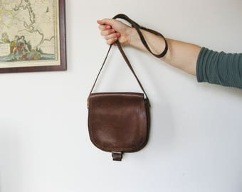 Vintage Brown Leather Saddle Bag | Crossbody Bag