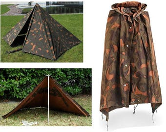 Vintage Hungarian Military Woodland Camo Poncho Shelter Zeltbahn Teepee Tipi Tent Post WWII