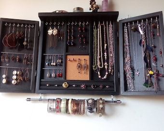Jewelry cabinet. earrings holder with shelf. Armoire. BLACK stain jewelry storage.Wooden wall mounted jewelry closet. earrings storage.