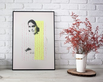 The Lady with the Book - Screenprint Original - Printed on190gsm white card Size:A3