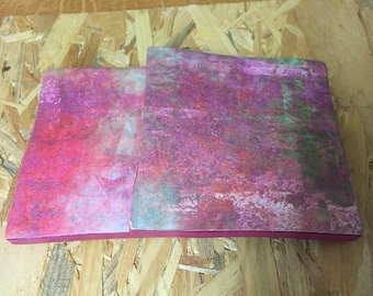 Recycled Handmade Ceramic Tile Coasters Set of Two Pink Green Distressed Design