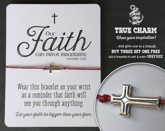 Bible verse jewelry - Faith gift idea - Sunday School Gift - Bible quote jewelry - faith quote bracelet - Cross Jewelry - Cross bracelet