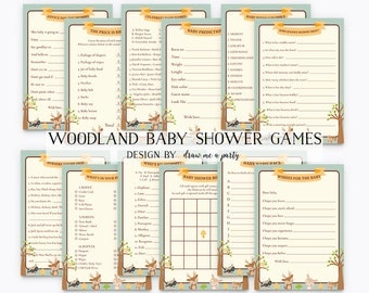 WOODLAND BABY SHOWER Games Value Pack , Woodland Game Pack , Boy Baby Shower , Forest Animals , Printable Woodland Game , Instant Download