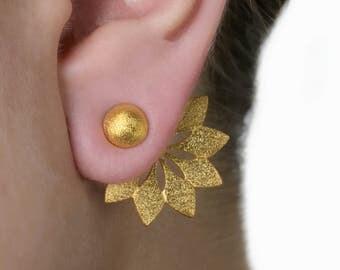 Arrow Ear Jackets,Front Back Earrings, Double sided minimalist earrings,Hemisphere stud earrings,Textured earrings,18K gold plated