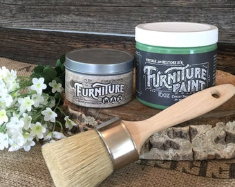 Chalk Paint Kit - 1Pint Paint, 8oz Clear Wax, and 1 Paint&Wax Brush