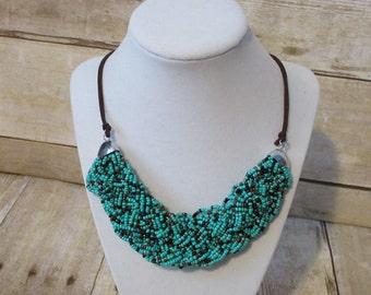 Chunky Bead Necklace - Multi Strand Beaded Necklace - Braided Necklace - Seed Bead Jewelry - Beaded Statement Necklace - Boho Jewelry