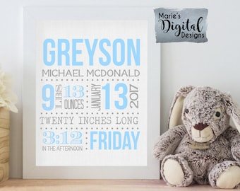 PRINTABLE - Birth Stats Wall Art / Nursery / Birth Announcement / Details / Newborn / Blue Gray / Personalized Baby Gift Keepsake JPEG file
