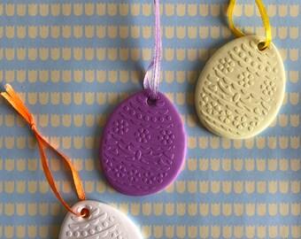 3 Egg shaped Easter Ornaments
