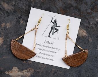 small wood chandelier earrings, small dangle earrings, gold dangle earrings, boho, hipster, chic, natural wood earrings, walnut, wood dangle
