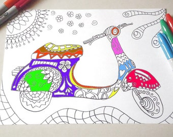 vespa italian scooter kids adult coloring book page italy instant download travel art  home decor printable print digital lasoffittadiste