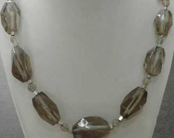 faceted, smokey quartz, glass, silver metal, chunky, necklace