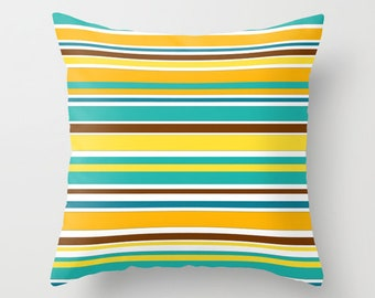 Patio Pillow Cover, Outdoor Pillows Turquoise Orange Brown Yellow  Decorative Pillows Colorful Striped Pillows Porch