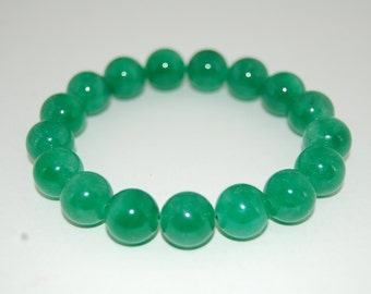 Green Jade Bracelet,Gemstone 10mm Round Beads,Elastic Bracelet Fit All,Gemstone Stretch Bracelet,Man,Woman, Beaded Jewelry,Gift