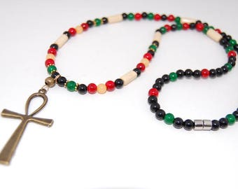 Ankh Cross Necklace,Multicolor Gemstones,Wood,Key of the Nile,Key of Life,Crux Ansata,Man,Woman,Egyptian Cross,Egyptian,Anhk Cross
