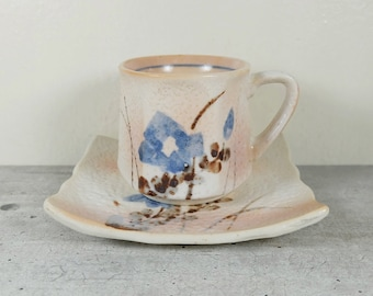 Japanese Tea Cup and Saucer of Shino ware, Iris Flower Hand painted, Espresso Cup