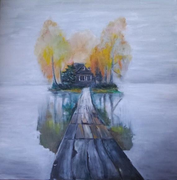 Lake in fog Acrilic Landscape painting Mist, Pastel, Nature