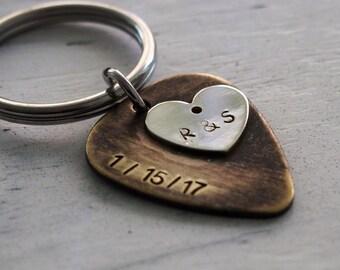 mens guitar pick keychain, mens gift, personalized mens gift, mens personalized gift, husband gift, boyfriend gift, personalized keychain