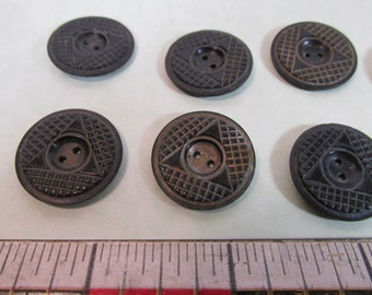 LOT 50 Vintage Black 7/8 inch 2 Hole Triangle Grid Design Buttons Sewing Craft