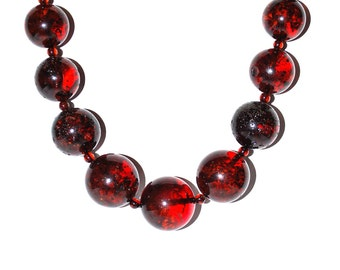 Amber Necklace From Big Round Genuine Raw Baltic Amber Cognac Color Beads Massive Item