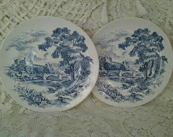 Wedgwood Countryside Blue Transferware Dinner Plates Set of 2