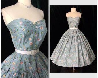 GORGEOUS 1950's Vintage Medium floral dress Super full circle skirt polished cotton sundress retro pin up VLV shelf bullet  bust