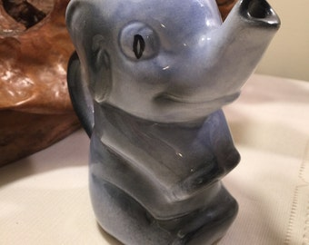 Artistic potteries blue grey elephant creamer - elephant milk pitcher - elephant pottery milk pitcher - elephant creamer