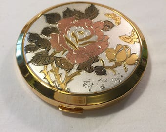 Vintage Lovely etched compact - excellent condition compact - etched butterfly compact - vintage compact - lovely compact - mid century
