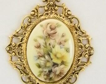 Vintage Florenza Hand Painted Floral Bouquet Pendant Necklace