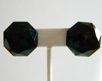 Black Faceted Octagon Button Clip Earrings
