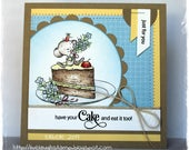 Cute Birthday Card, OOAK Greeting Card, Square Card, Handmade Card, Chocolate Cake, Stitched Card, Handcrafted Birthday Card
