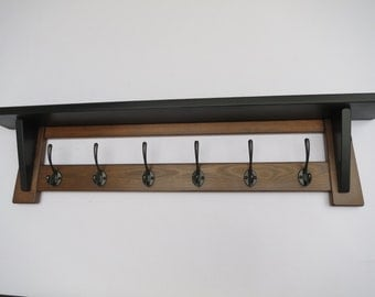 6 Hook black and brown hat and coat rack