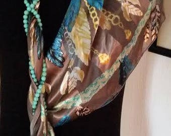 """Like Gucci Turquoise and/Gold and Taupe """"FEATHERS"""" Scarf,Jeweled scarf with necklace with tassel AND Vintage pin,gorgeous!!"""