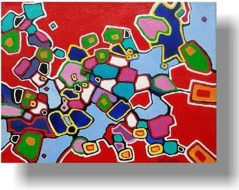 Painting red blue green Abstract Acrylic original modern fine art KenWebbStudios, 12 x 16