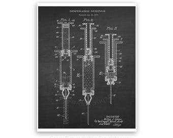 Syringe Patent art print #4  with Chalkboard background - medical student graduation gift- gift for nurse - doctor's waiting room decor
