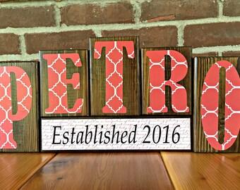 Custom Name Letter Blocks | Personalized Blocks | Wedding Gift | Rustic Wood Decor | Last Name Block Set | Established Date | Name Sign