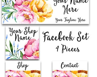 Sweet Floral Facebook cover set pink and yellow flowers modern feminine watercolor graphics social media header profile pic