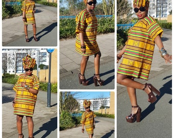 Towani Creations Brown Kente Anakra African Print Kitenge Oversized T-Shirt Style Dress Size M-3XL