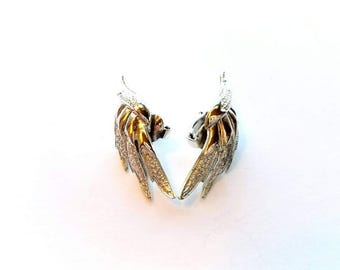 Vintage Coro Signed Silver Textured Wings Earrings, Clip On Backs