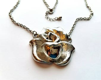 Vintage Antiqued Silver Necklace with Attached Rose Flower Pendant