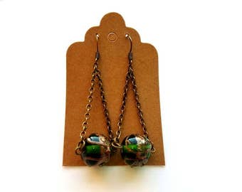 Antiqued Brass Double Chain Drop Earrings with Green and Gold Lampwork Glass Bead Handmade Pierced Earrings