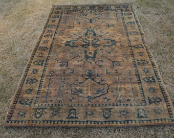 FREE SHIPPING Antique Kazak Rug Double Knotted Double Shades Central Asian Carpet