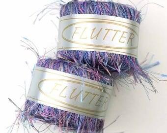 Lot of 2 KFI Flutter 19 - pastel blue, pink, purple, eyelash yarn