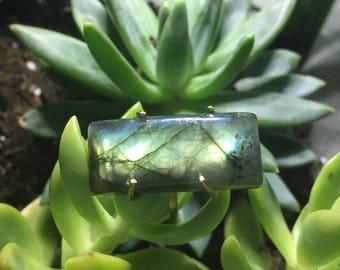 Handmade Labradorite Cabochon Crystal Ring