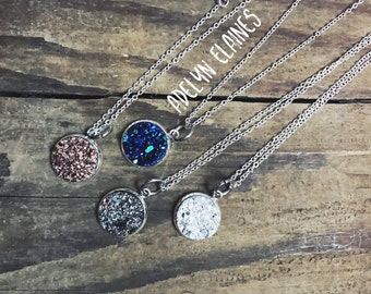 Large Druzy Pendant Necklace - Simple Single Druzy Pendant on Silver Chain 18 inches