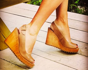 Caramel, Coffee or Black Leather Wedge
