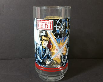 Vintage Star Wars Return of the Jedi Back Glass Burger King Luke Skywalker Darth Vader Lucas Films