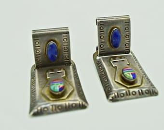 Modernist Sterling Silver Blue Lapis Earrings